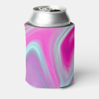 Pink Blue Green Watercolor Abstract Fine Art Can Cooler