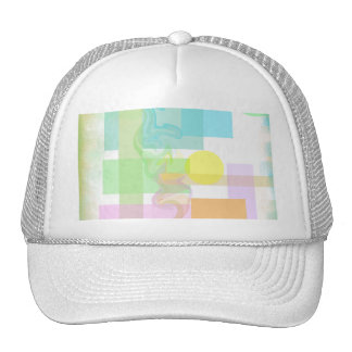 Pink Blue Green Yellow Gold Pastel Shapes Pattern Hat