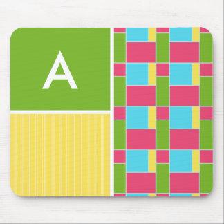 Pink, Blue, Green, & Yellow Rectangles Mousepad