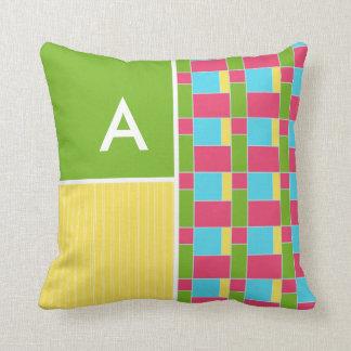 Pink, Blue, Green, & Yellow Rectangles Throw Pillow