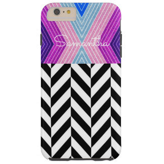 Pink, Blue, Grey Color Design with White Name - Tough iPhone 6 Plus Case