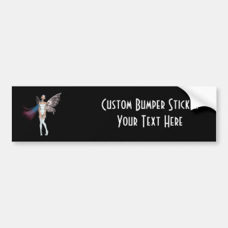 Pink & Blue Hair Pixie In White Bumper Sticker
