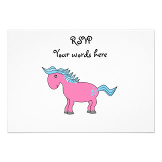 Pink blue horse with blue hearts announcement