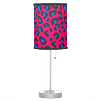 Pink Blue Leopard Animal Print Desk Lamp