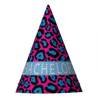 Pink/Blue Leopard Faux Diamond Bachelorette Hats