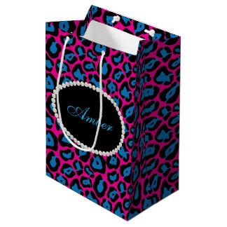 Pink & Blue Leopard Print Pearls & Name Monogram Medium Gift Bag