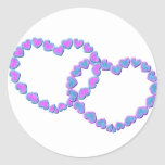 Pink & Blue Linked Hearts Classic Round Sticker
