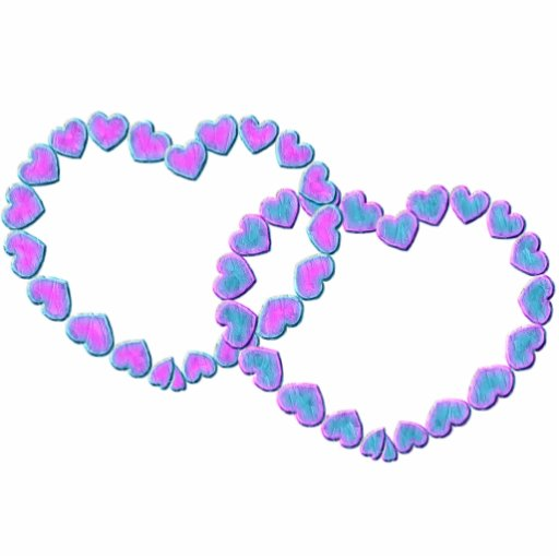 Pink & Blue Linked Hearts Standing Photo Sculpture