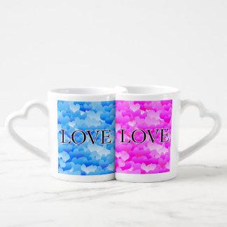 Pink & Blue Love Coffee Mug Set