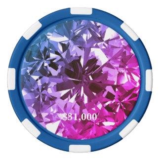Pink Blue Miami Filter Gem Stone Poker Chip