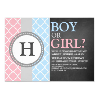 Pink/Blue Monogram Gender Reveal Invitation