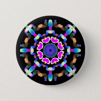 *~* Pink Blue Neon  Mandala on Black 2 Inch Round Button