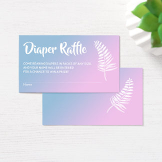 Pink & Blue Ombre Baby Shower Diaper Raffle Cards
