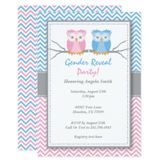 Pink & Blue Owl Gender Reveal Shower Invitation