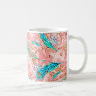Pink Blue Peacock Feathers Mug Coffee Cup Mug