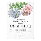 Pink blue peony flowers wedding bridal shower card