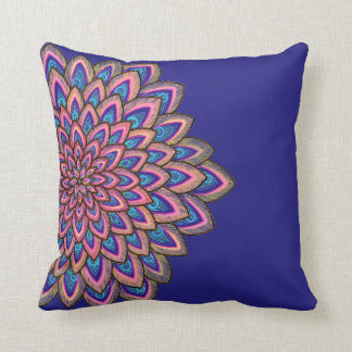Pink, blue & purple abstract flower, throw pillow