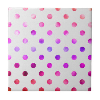 Pink Blue Purple Rainbow Metallic Faux Foil Polka Tile