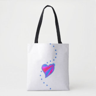 Pink Blue Rainbow Heart with Stars Tote Bag