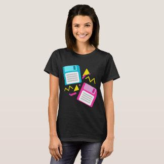 Pink Blue Retro Floppy Disk 80s 70s 90s Nostalgia T-Shirt
