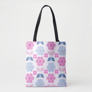 Pink/Blue Retro Flowers All-Over-Print Tote Bag