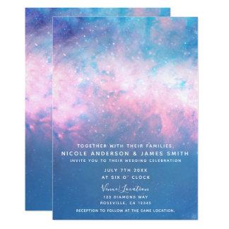 Pink & Blue Starry Sky Cosmic Galaxy Sky Wedding Card