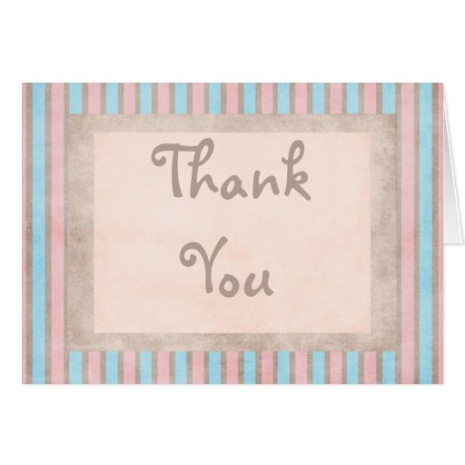 Pink & Blue Stripe Thank You Card