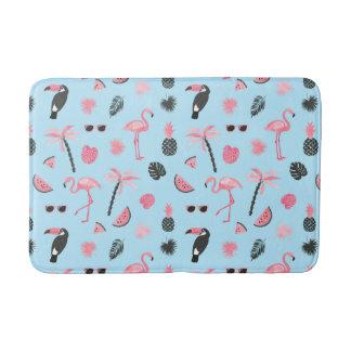 Pink & Blue Summer Tropical Pattern Bath Mat