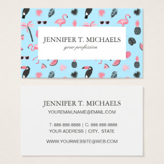 Pink & Blue Summer Tropical Pattern Business Card