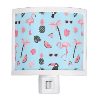 Pink & Blue Summer Tropical Pattern Nite Light