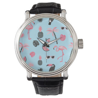 Pink & Blue Summer Tropical Pattern Watch