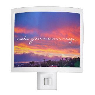 "Pink blue sunrise ""magic"" quote photo night light"