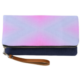 Pink & Blue Teal Fold-Over Clutch