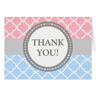 Pink/Blue Thank You Card