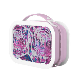 Pink Blue Tiger Collage Lunchbox
