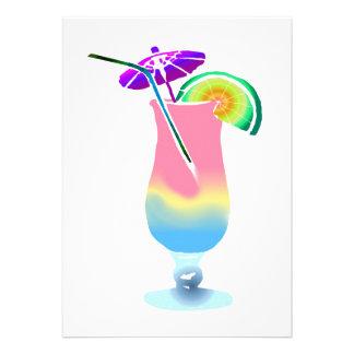 Pink & Blue Tropical Drink Custom Invites