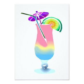 Pink & Blue Tropical Drink 5x7 Paper Invitation Card