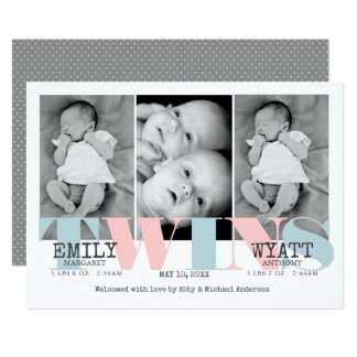 Pink | Blue Twins Baby Birth Announcement