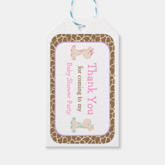 Pink & Blue Twins Giraffe Thank You Gift Tag