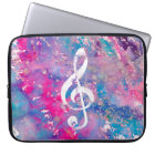 Pink Blue Watercolor Paint Music Note Treble Clef Laptop Sleeve