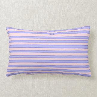 Pink blue watercolor stripes lumbar pillow