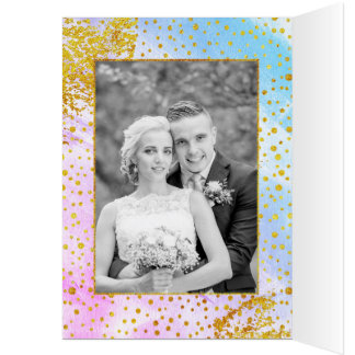 Pink, blue watercolor wedding Thank You photo Card