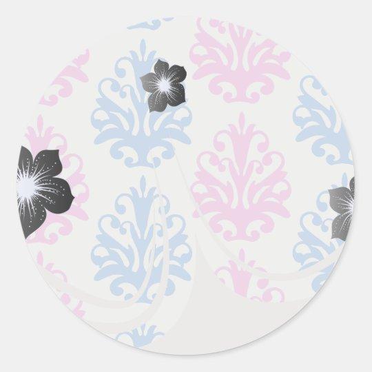 pink blue white damask classic round sticker