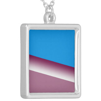 Pink Blue White Stripes Silver Plated Necklace