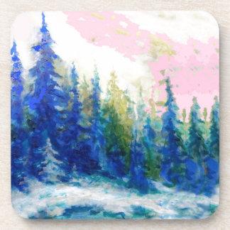 Pink-Blue Winter Forest Landscape Drink Coaster