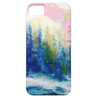 Pink-Blue Winter Forest Landscape iPhone 5 Covers