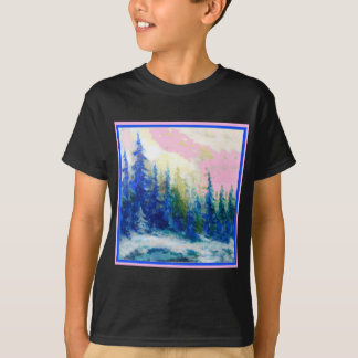 Pink-Blue Winter Forest Landscape T-Shirt