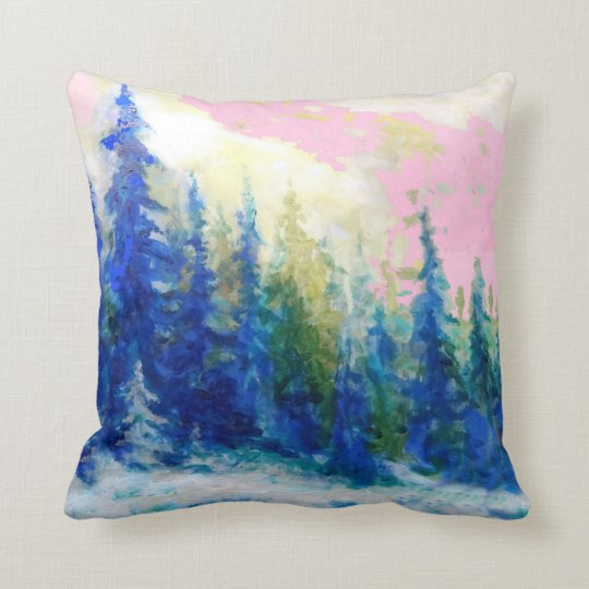 Pink-Blue Winter Forest Landscape Throw Pillow