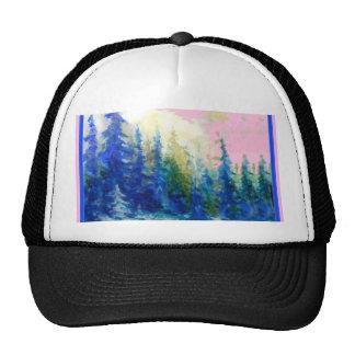 Pink-Blue Winter Forest Landscape Trucker Hat