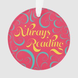 Pink Blue Yellow Swirls Always Reading Bookish Ornament